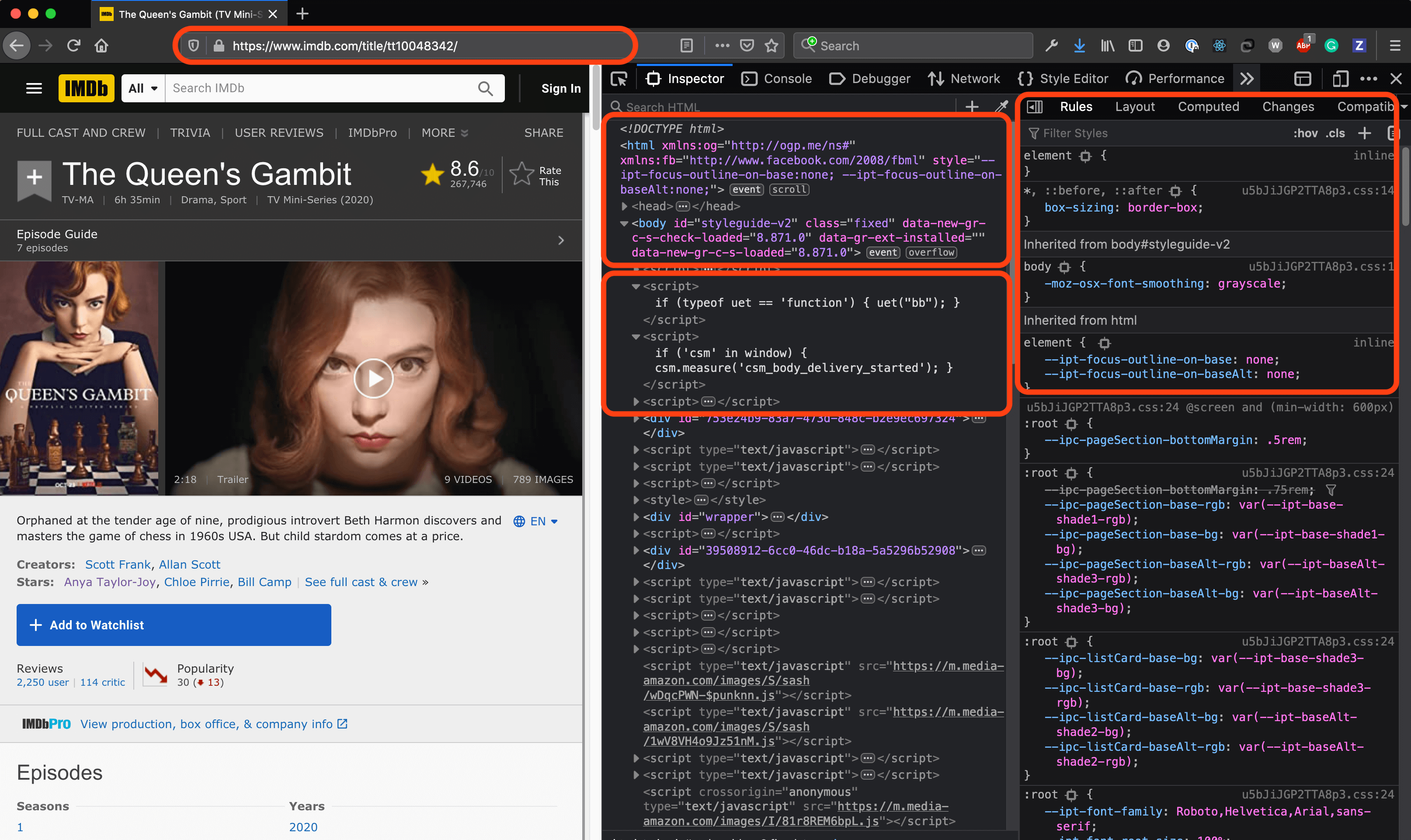 An example of a browser's developer tools
